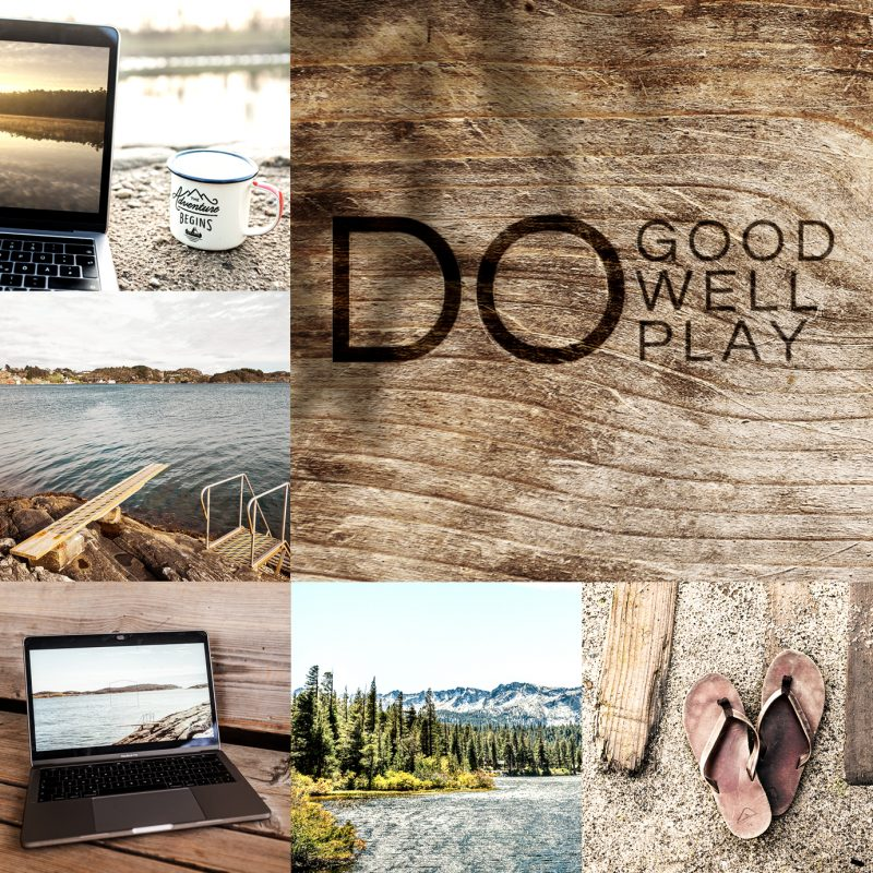 "Bildercollage Laptop, See und Text: "" Do good, do well, do play"""